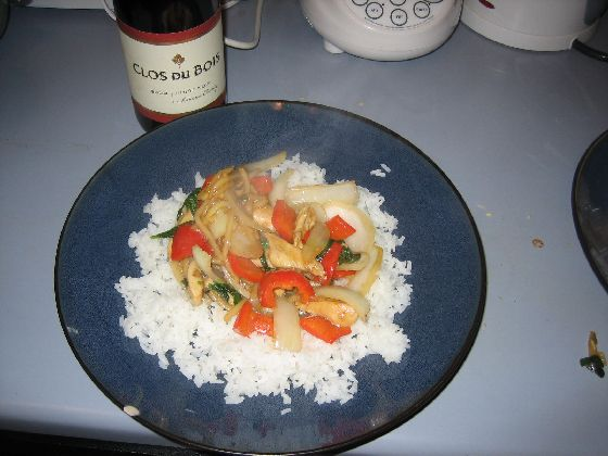 thai basil chicken with jasmine rice