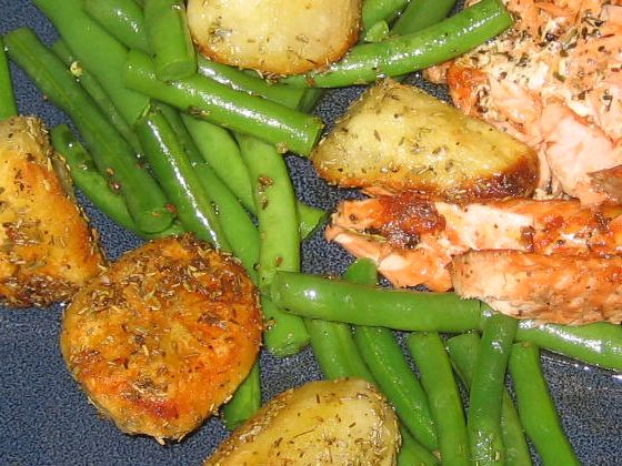 Finished potatoes with salmon