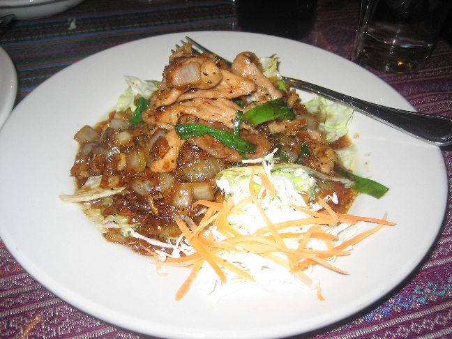 thai lotus pork pad gra thiam