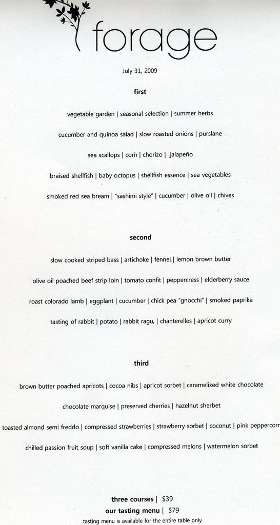 forage menu