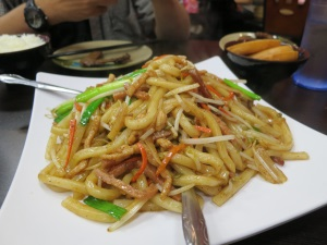 tri shredded stir fried udon