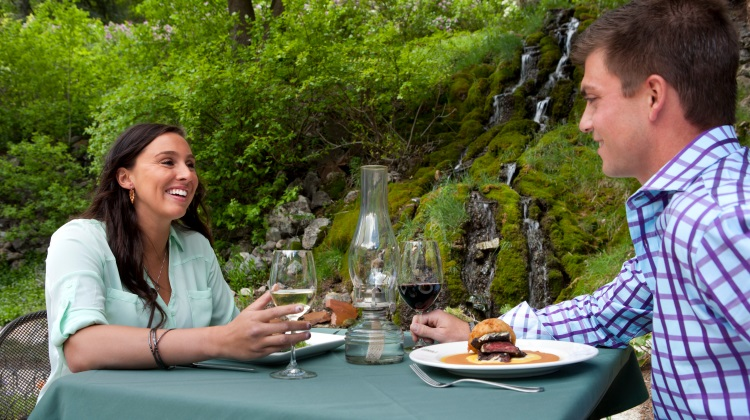 log haven couple having  wine dinner