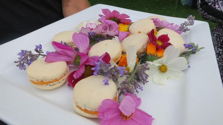 pago macarons with peach puree