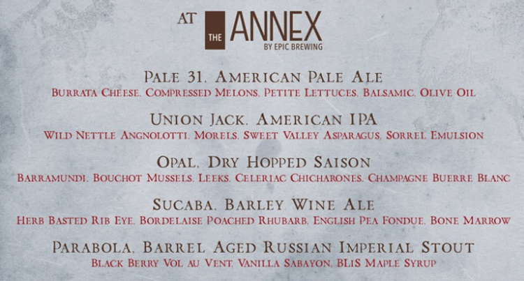annex by epic menu for Firestone Walker Brewing Company dinner