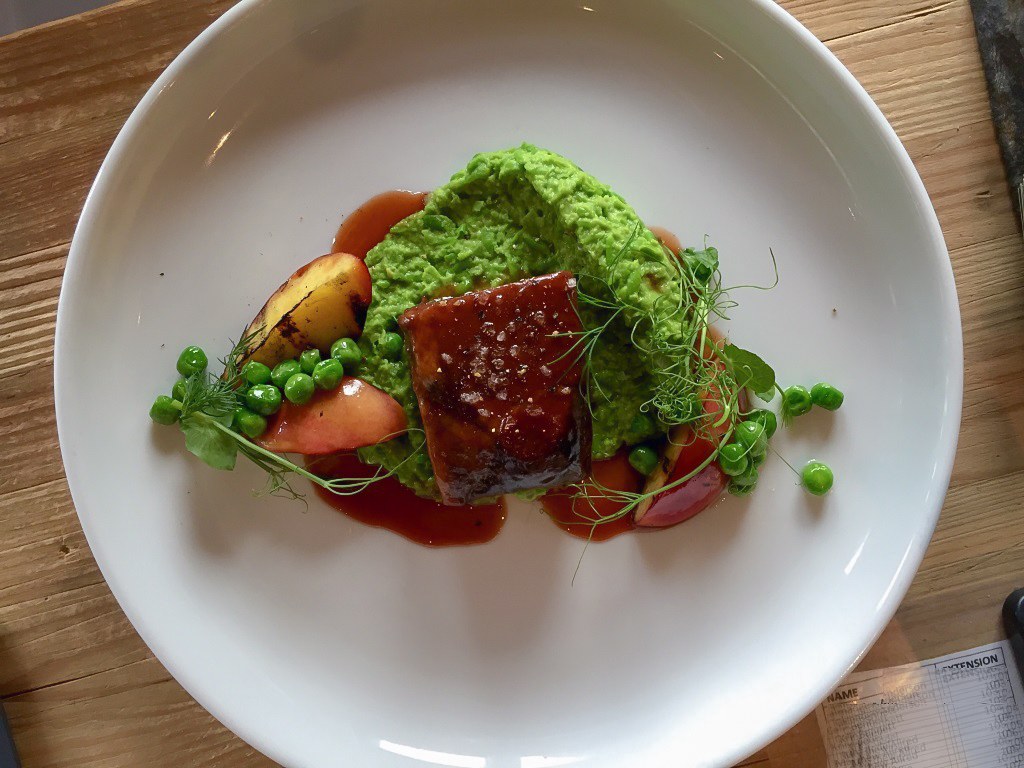The Annex By Epic: 48 hour sous vide beef short rib, English pea fondue, grilled stone fruits, sauce bordelaise.