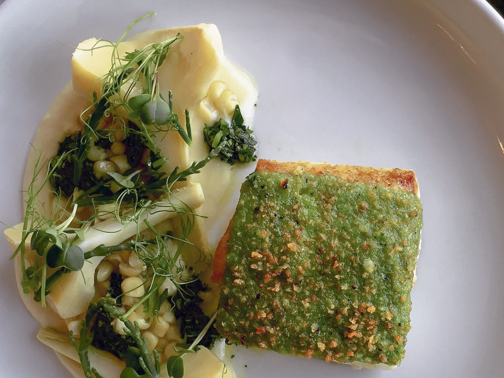 The Annex By Epic: Atlantic halibut en perssiade, Utah corn fondue, artichokes barigoule & salsa verde.
