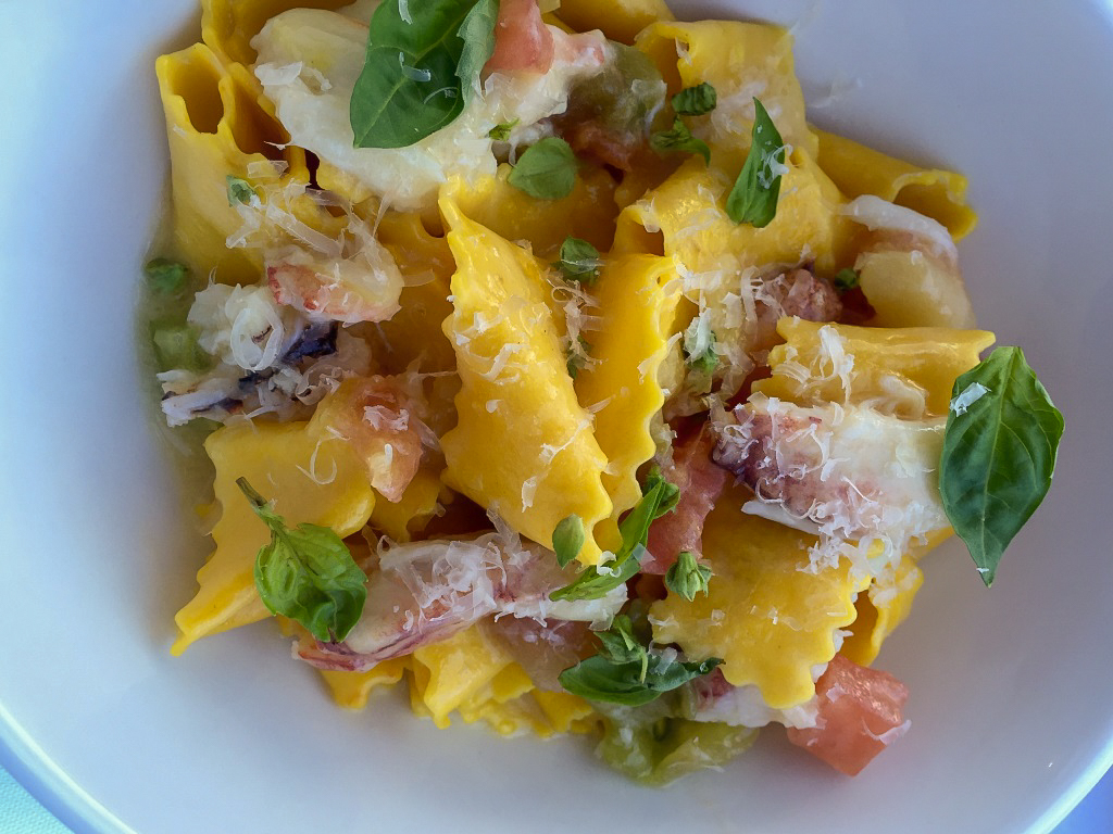 The Annex By Epic: Saffron pappardelle, peeky toe crab, butter poached heirloom tomatoes.