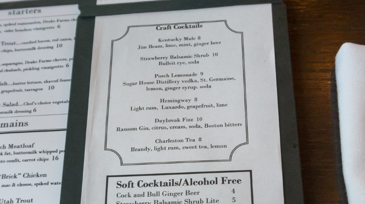 porch cocktail menu