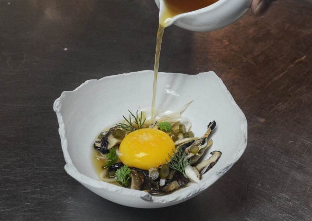 naked fish japanese egg yolk confit