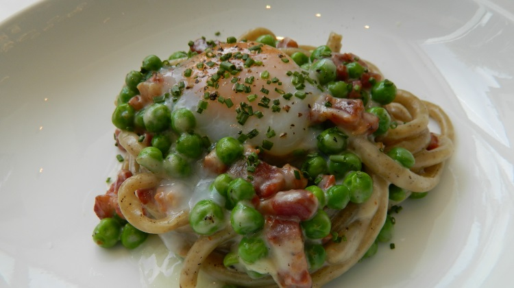 Stanza Black Pepper Bucatini with Pancetta and Egg