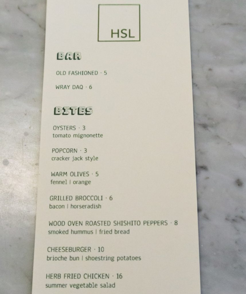 hsl bar bites menu