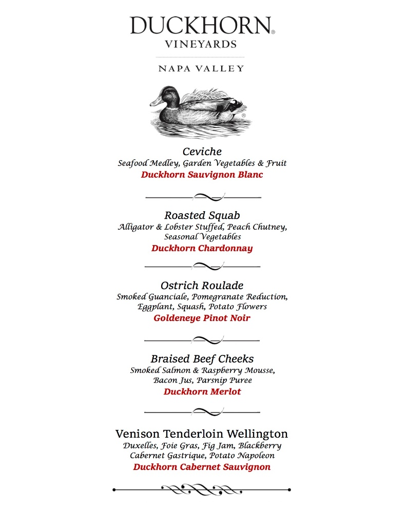 Spencer's: Duckhorn Vineyards pairing menu