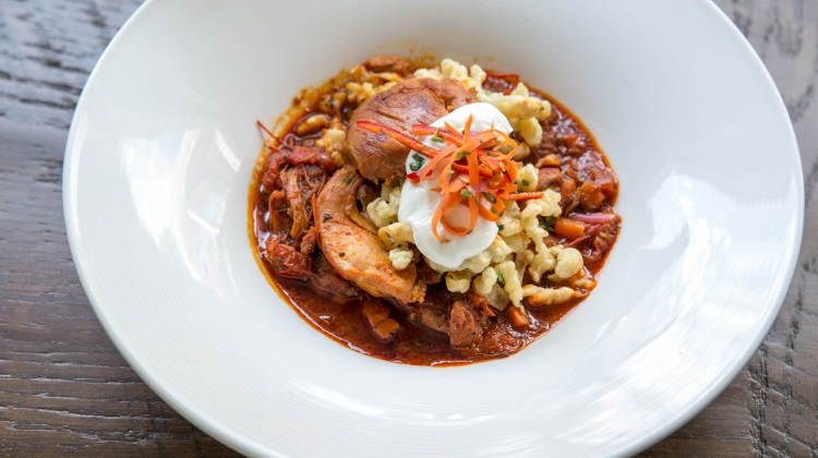 Trestle Tavern: goulash and spaetzle