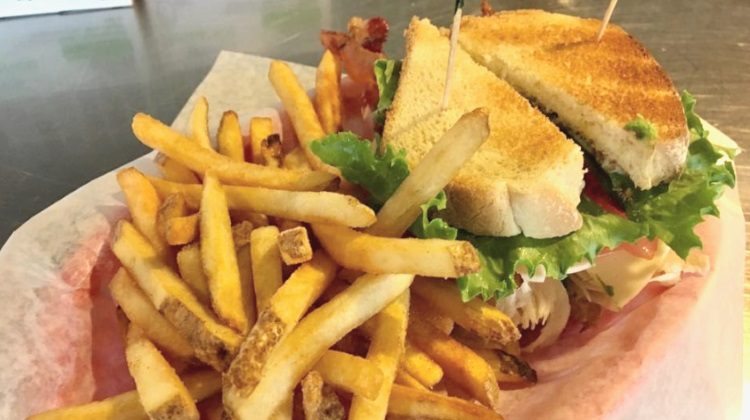 Zillas: club sandwich and fries