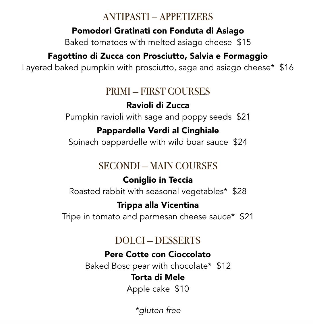 Veneto - seasonal November menu