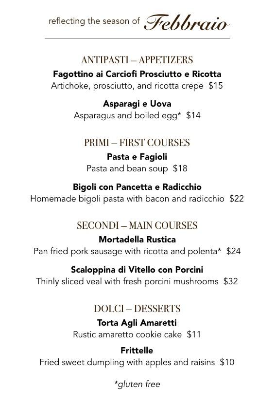 February Veneto menu