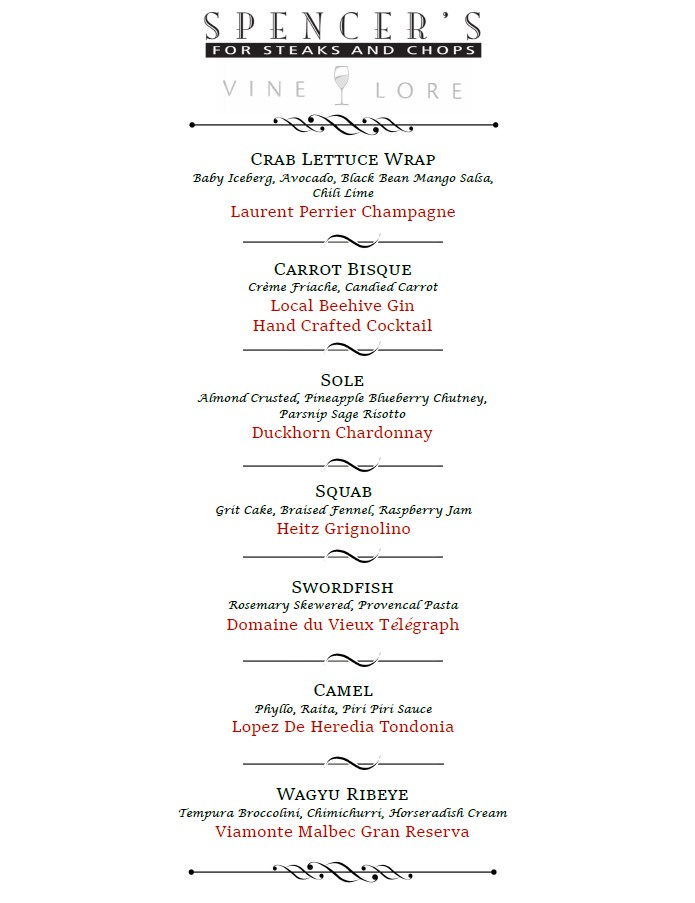 spencers vinelore wine dinner menu