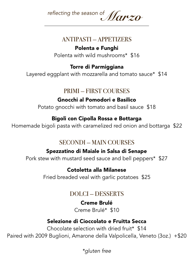 Veneto March menu