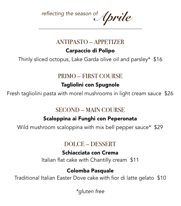 April menu Veneto