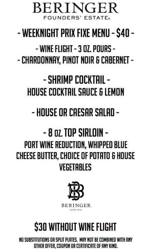 Beringer Weeknight Prix Fixe menu at Hoof And Vine
