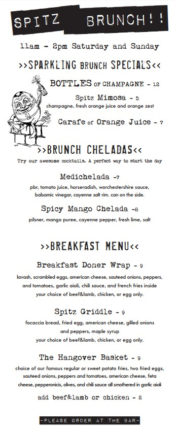 Spitz - brunch menu