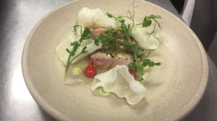 Pallet - hamachi, lime broth, avocado espuma, sweetie drops, rice chips