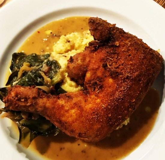 Traditions - fried chicken and grits. Credit, Instagram.