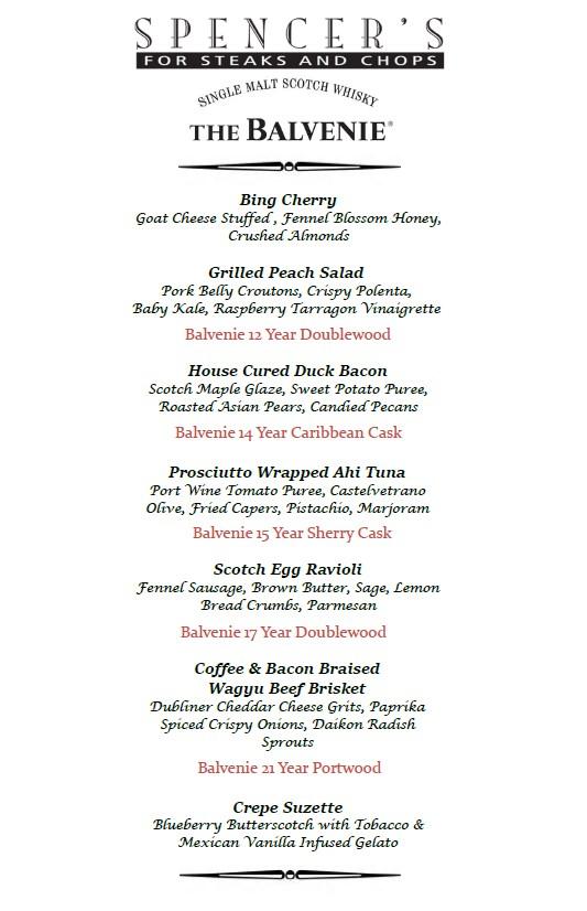 balvenie scotch dinner menu at Spencers