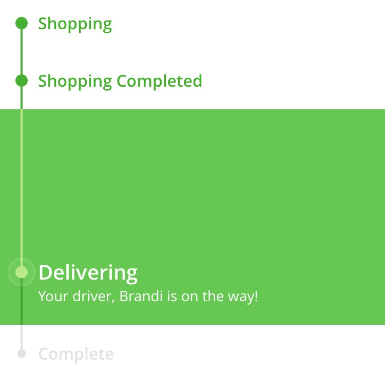 Instacart - driver on way