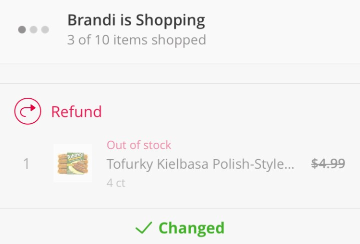Instacart - items not available refund