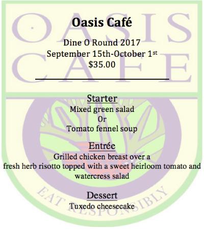 Oasis Dine O Round menu