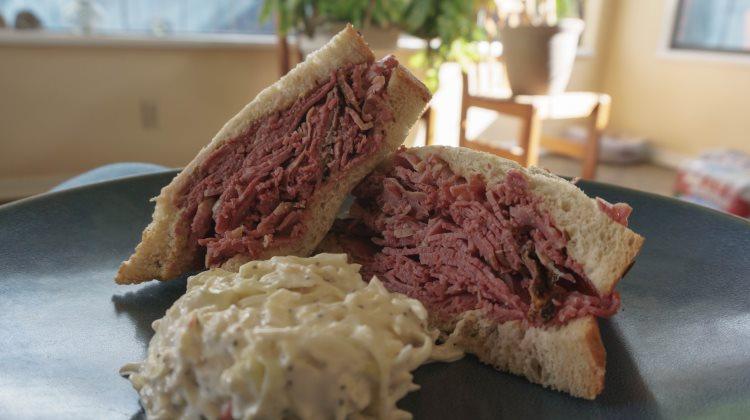 Feldman's Deli - enjoying a corned beef sandwich at home