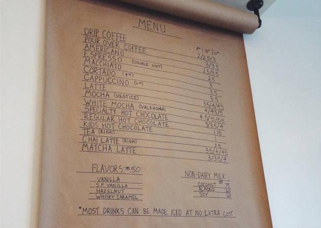 Honeysuckle Coffee Co menu. Credit Honeysuckle
