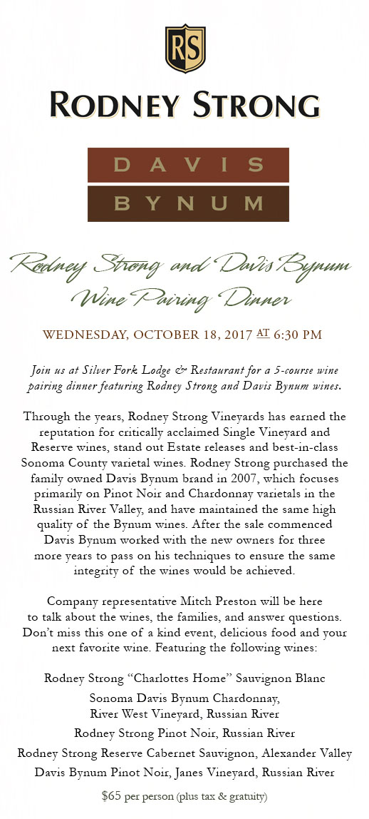 Silver Fork Lodge - Rodney Strong wine dinner