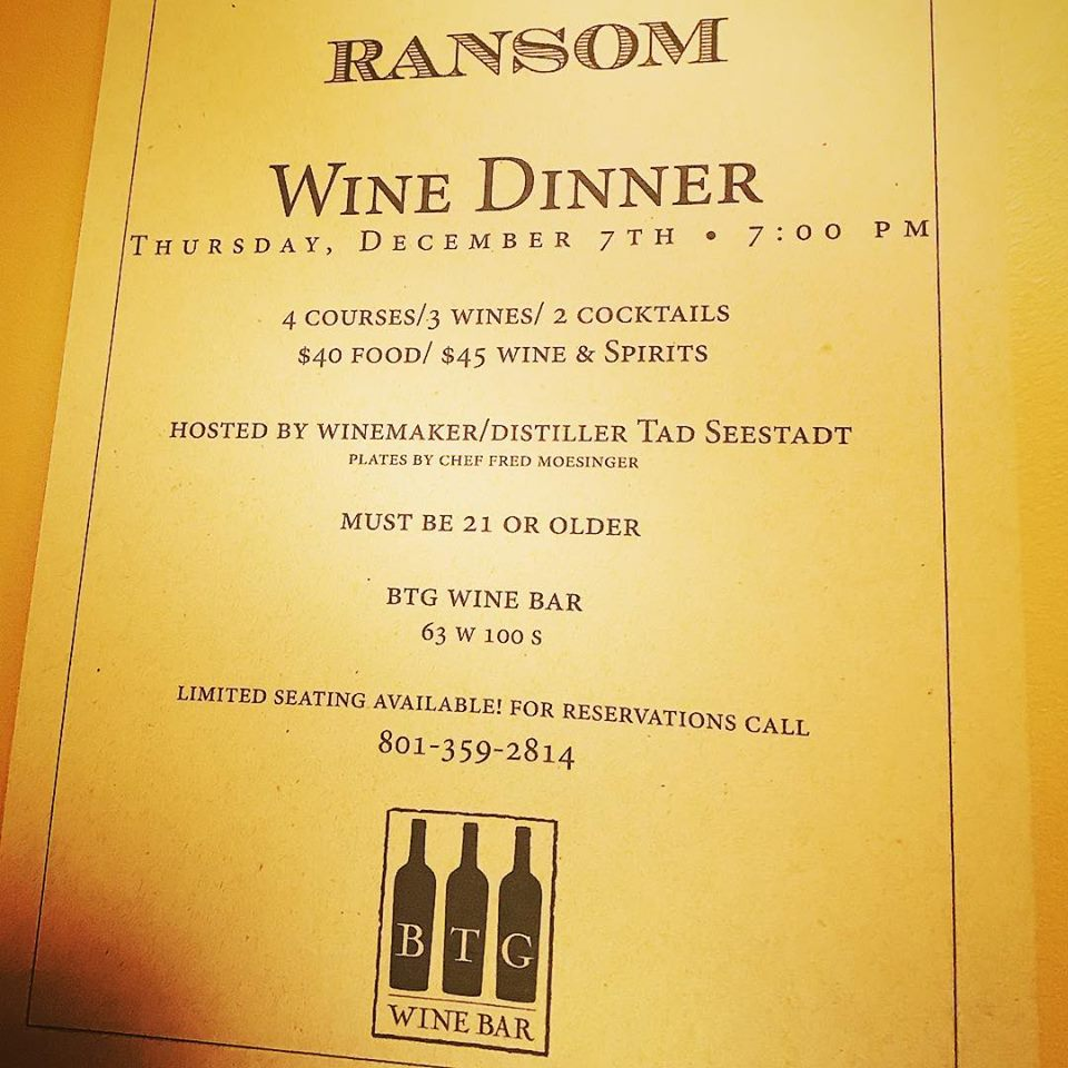 BTG Ransom Wine Dinner