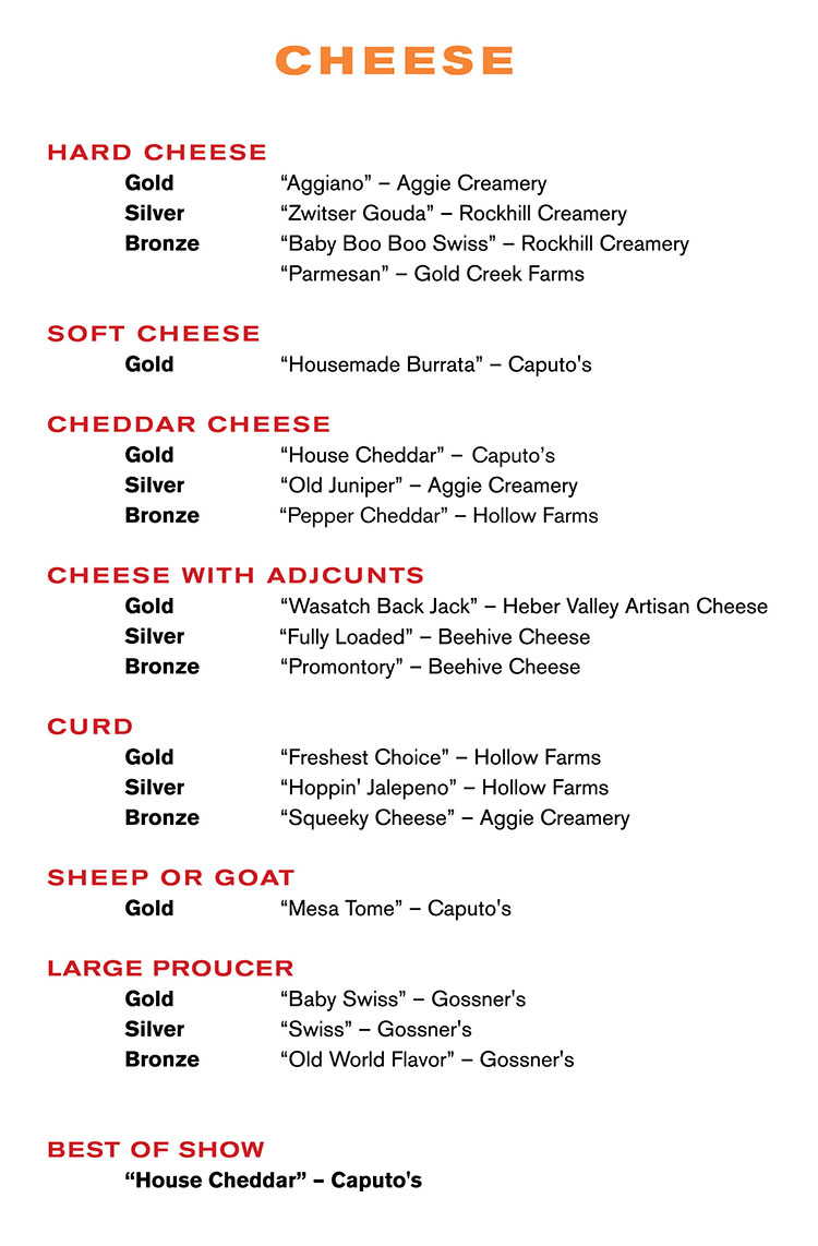 2017 Utah Cheese Awards