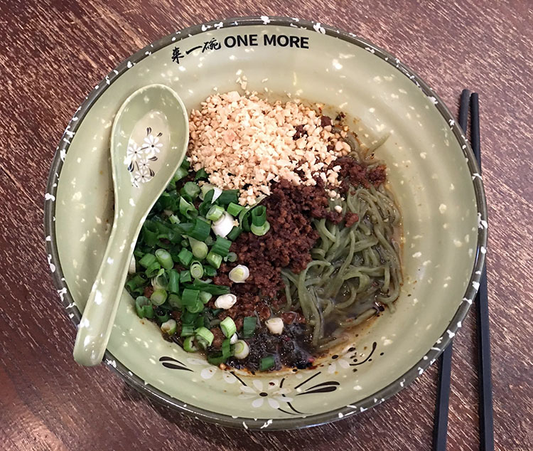 One More Noodle House - kale ramen noodles. Credit OMNH