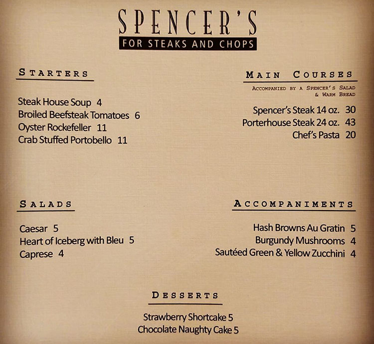 Spencer's 20 year menu