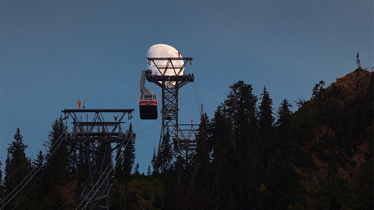 Full moon at Snowbird. Credit Snowbird and Matt Crawley