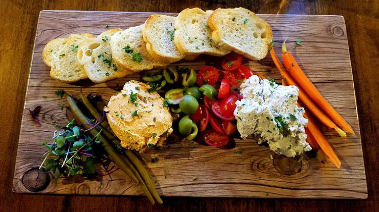 Seasons Plant Based Bistro - crudite and cheese board. Credit, Pure Food