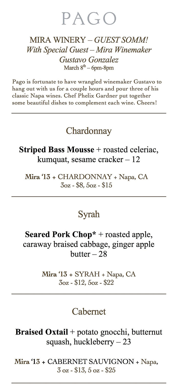 Pago - Mira Winery dinner menu