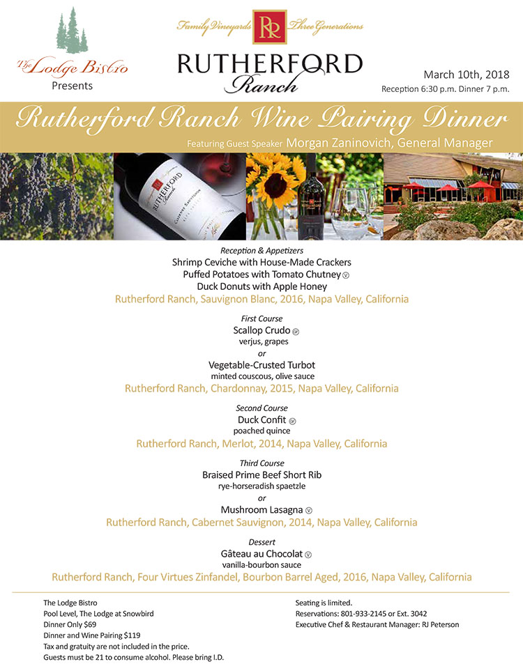 Rutherford wine dinner at Snowbird