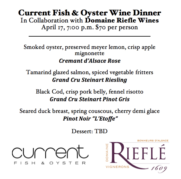 Current Riefle wine dinner menu