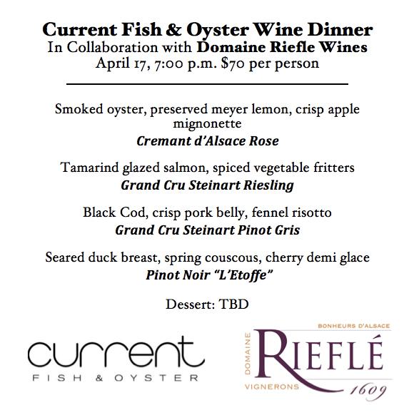 Current Riefle wine dinner menu