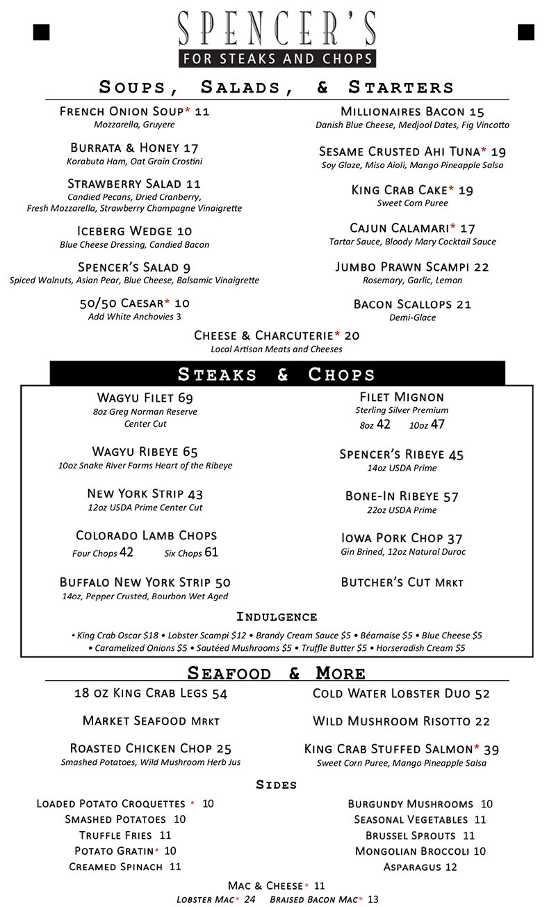 Spencer's For Steaks And Chops new 2018 dinner menu