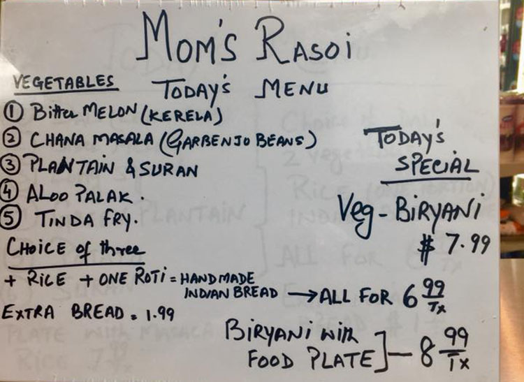 Mom's Rasoi - example menu (Mom's Rasoi)