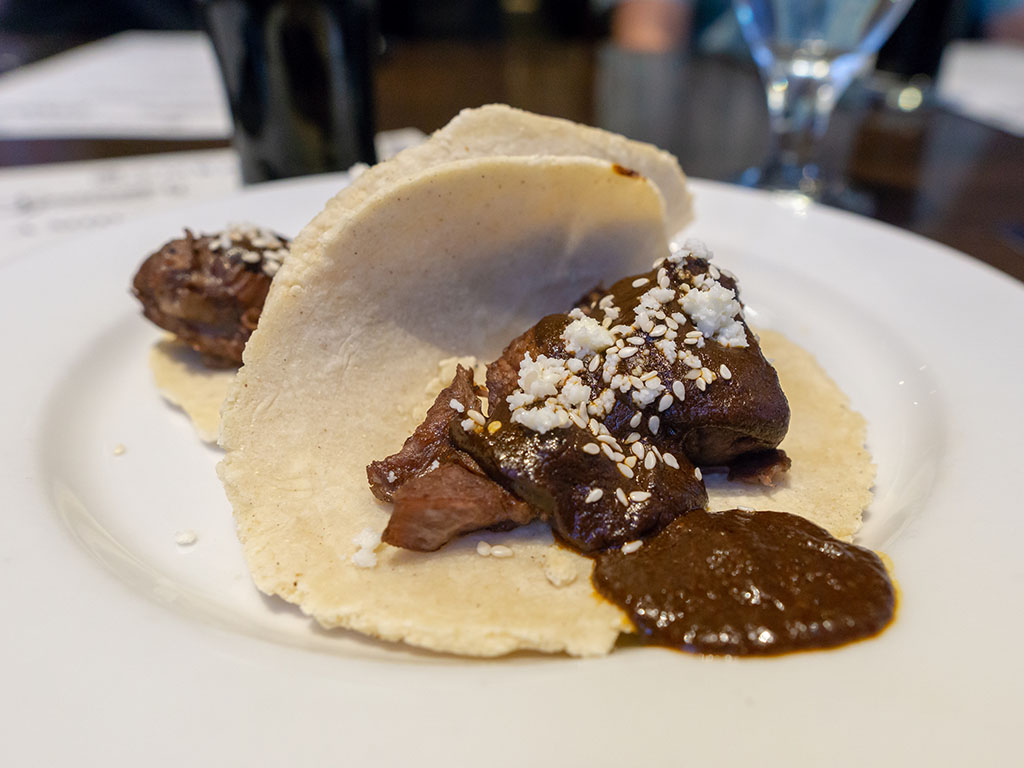 Bambara - Wasatch Summer beer dinner - wild boar and mole tacos