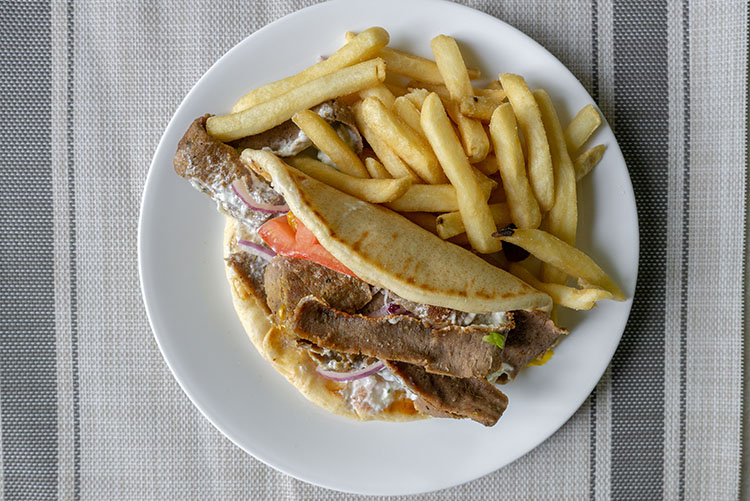 Mad Greek gyro and fries