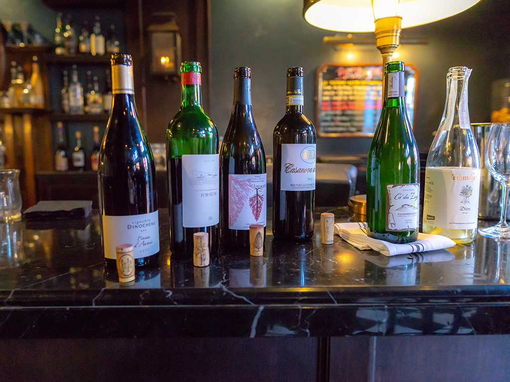 Selection of natural wines at Bar George