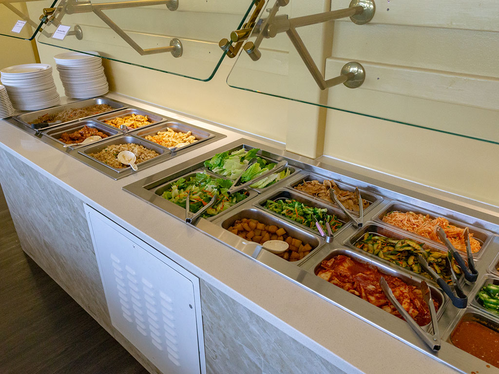 EJO Korean BBQ - buffet station with banchan